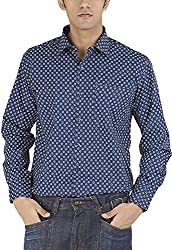 Silkina Men's Regular Fit Shirt (VPOI1400FBWM, Blue Print, 38)