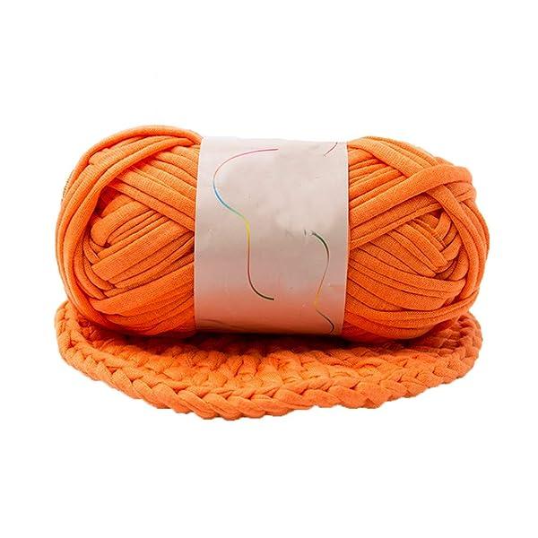 Yarn,Orange T-Shirt Yarn,Crochet Yarn,Fabric Knitting Yarn,Jersey Yarn,Recycled Yarn,Chunky Yarn,Spaghetti Yarn,Backpack Yarn,Cotton Yarn,Yarn Home Decor,1kg/2.2lb (Color: Orange, Tamaño: 1kg/2.2lb)