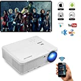 Bluetooth Wireless WiFi HDMI Video Projector 4600 Lumen LCD LED Multimedia Support Full HD 1080p Movie Gaming Projector Android 6.0 Home Theater Multimedia HDMI USB VGA AV for iPhone Mac PC Laptop TV (Color: WiFi Bluetooth Projector 4600 Lumens)