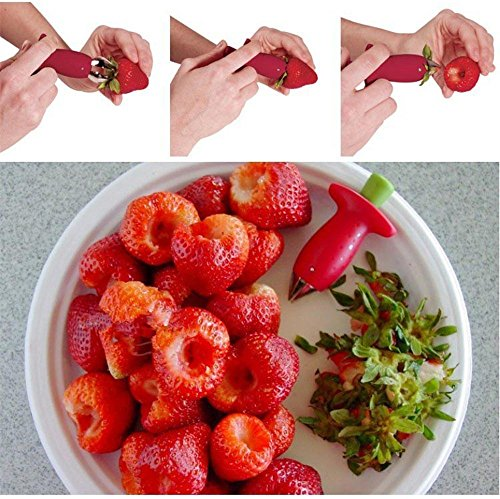 2pcs Strawberry Hullers Fruits Digging Tools Tomato Nuclear Corers Stalks Stem Remover Fruit Knife Kitchen Accessories (Tomato Stem Huller Stainless compare prices)