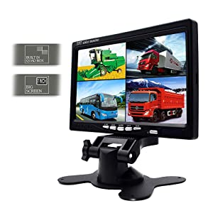 Camecho Vehicle Backup Camera 7 Inch 4 Split Monitor Front View, Rear View Camera 18 IR Night Vision Waterproof Auto Camera with 2x33 ft and 2x65ft Cables for Trucks, RV, Trailer, Bus (Tamaño: 7 Inch 4 Split Monitor + 4 Cameras)