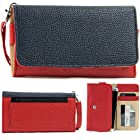 EXXIST® Classic Metro Series.. Women's vegan patent leather Clutch for Samsung Galaxy S II LTE i727R, i9210 (Color: Dark Blue / Red) -ESMLMTRB