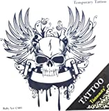Spestyle new design hot selling fashionable angel wings with skull totem design temporary tattoo sticker