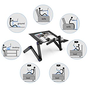 SLYPNOS Adjustable Laptop Stand Folding Portable Standing Desk Cooling Ventilated Aluminum Laptop Riser Tablet Holder Notebook Tray with Cooling Fans, Detachable Mouse Tray for Desk Bed Couch, Black (Color: Black, Tamaño: 803)