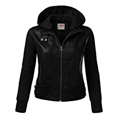 Womens Faux Leather Zip-Up Bomber Jacket Plus Size