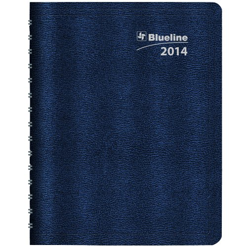 Blueline DuraGlobe 2014 Monthly Planner, 14 Months (December 2013 to January 2015), Twin-Wire Binding, English, Soft Blue Cover, 8.875 x 7.12 Inches (C230.22T)