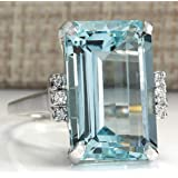 Lzz Vintage Fashion Lady 925 Silver Emerald Cut Blue Aquamarine Gemstone Ring with Diamond Ring Wedding Jewelry Size 5-11 (US Code 10) (Color: sea blue, Tamaño: US code 10)