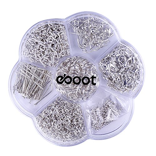 eBoot 7 Style 895 Pieces Jewelry Findings Starter Kit with Clear Box, Silver (Jewelry Starter Kits For Adults compare prices)