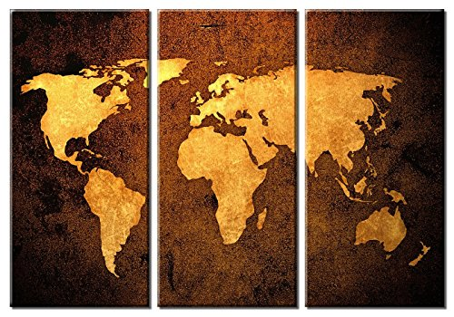 Cherish Art Hand Painted Oil Painting Gift World Map 3 Panels Wood Inside Framed Hanging Wall Decoration