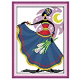Anself DIY Handmade Needlework Counted Cross Stitch Set Embroidery Kit 14CT African Style Pattern Cross Stitching Home Decoration 25 35cm