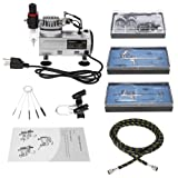 KKmoon Professional 3 Airbrush Kit With Air Compressor Dual-Action Hobby Spray Tattoo Nail Art Paint Supply w/ Cleaning Brush