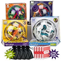 Ultimate Perplexus Package: Includes Original, Rookie, Epic and Twist Maze Games w/ 4 Free Storage Bags & 4 Free Brybelly Decks of Cards! from Plasmart