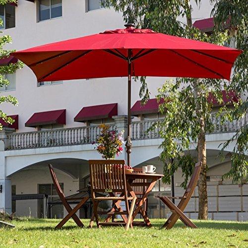 rectangular solar powered 28 led light tilt patio umbrella dark red. Black Bedroom Furniture Sets. Home Design Ideas