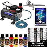Master Airbrush Brand Finger Nail Decorating System. With Master G22 Airbrush Air Compressor Stencil Set of Over...