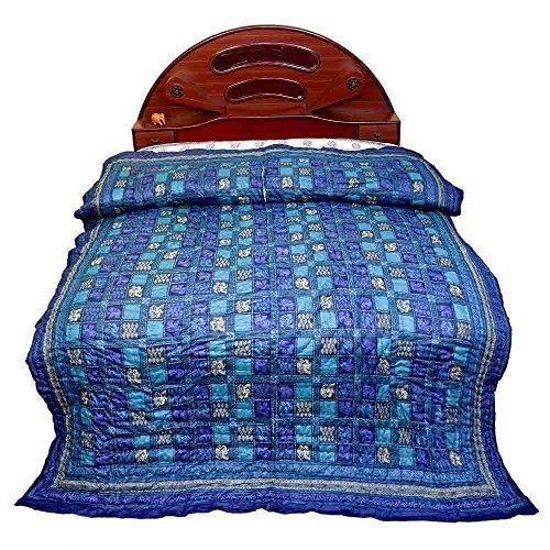 Little India Fancy a cuadros de diseño de cama doble azul