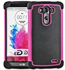 myLife Mulberry Pink {Impact Design} 2 Piece Hybrid Reflex Case for the LG G3 Smartphone (Outer Rubberized Fit On Protector Shell + Internal Silicone SECURE-Grip Bumper Gel)
