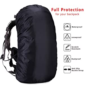 for Hiking Outdoor Activities Upgraded Anti-Slip Cross Buckle Strap /& Rainproof Storage Pouch Cycling Camping Loowoko Waterproof Backpack Rain Cover for 25-90L Traveling