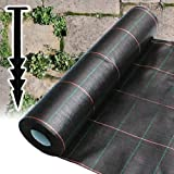 1M X 20M HEAVY DUTY WOVEN WEED CONTROL GROUND MULCH LANDSCAPE FABRIC + 20 PEGS