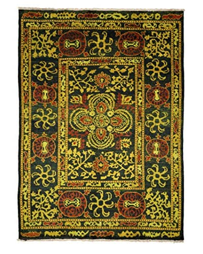 Darya Rugs Modern One-of-a-Kind Rug, Black/Yellow, 6' 6 x 8' 10