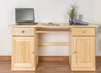 Desk solid, natural pine wood 004 - Dimensions 74 x 145 x 55 cm (H x B x T)