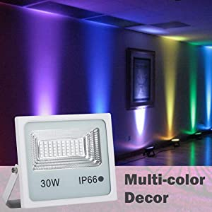 10 Pack 30W RGB LED Flood Lights, Outdoor Color Changing Floodlight with Remote Control, IP66 Waterproof 16 Colors 4 Modes Dimmable Wall Washer Light, Stage Lighting with US 3-Plug (Color: 30w Rgb Led Flood Light Outdoor, Tamaño: 10pcs 30W RGB)