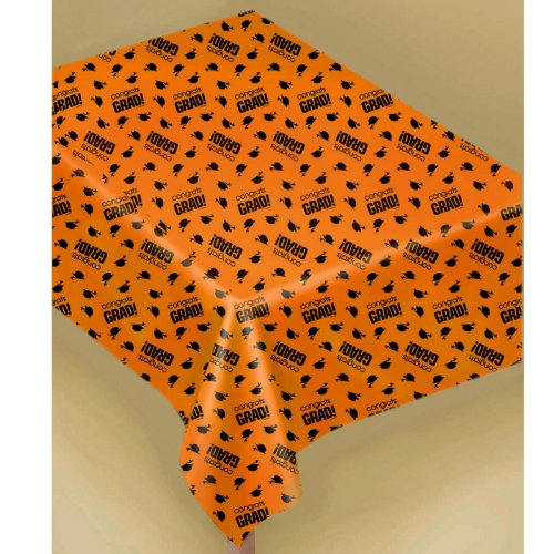 Amscan - Congrats Grad Orange Graduation Plastic Tablecover - 1