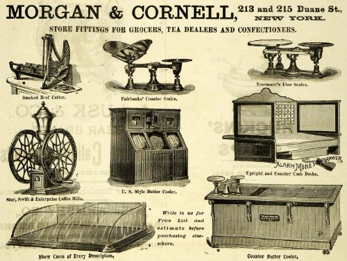 1889 Ad Morgan Cornell Grocer Tea Stand Coffee Beef - Original Print Ad