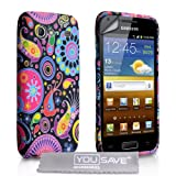 "Yousave Accessories TM Samsung Galaxy S Advance i9070 Schwarz / Multi Gef�rbt Quelle Muster Silikon Gel Schutzh�lle Tasche Mit Displayschutz Folie Und Graues Micro Faser Poliertuchvon ""Yousave"""