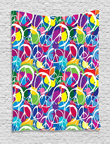 Ambesonne 1960s Decor Collection, Universal Peace Sign Symbol on Colorful Pop Art Style Background Antiwar Activism Kitsch Design, Bedroom Living Room Dorm Wall Hanging Tapestry, (60s Background)