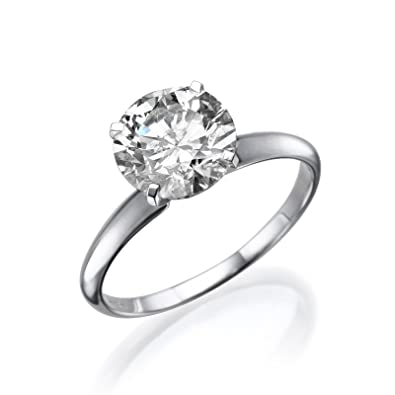 Engagement Ring 0.50 CT Round Cut Solitaire E-F/I1-I2 18ct White Gold