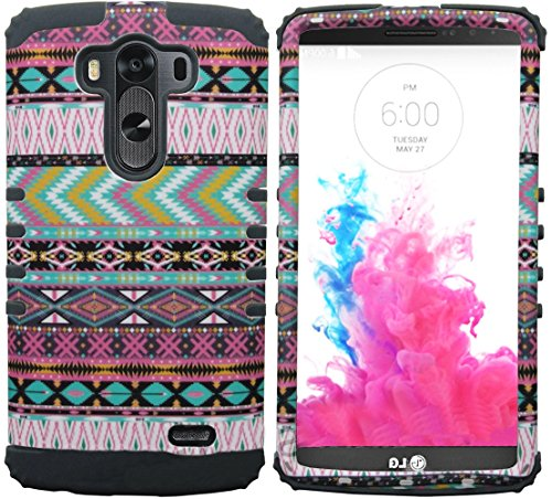 Mylife Slate Gray Brown + Outback Colors {Wild Aztec Design} Dual Layered 3 Piece Case For The Lg G3 Smartphone (2 Piece Outer Rubberized Snap On Protector Shell + Internal Silicone Secure-Grip Bumper Gel) front-47885