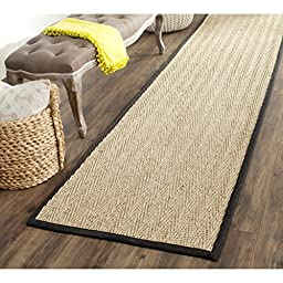 Safavieh Natural Fiber Collection NF115C Natural and Black Seagrass Runner, 2 feet 6 inches by 6 feet (2\'6\