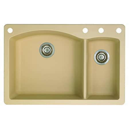 Blanco 441221-4 Diamond 4-Hole Double-Basin Drop-In Granite Kitchen Sink, Biscotti