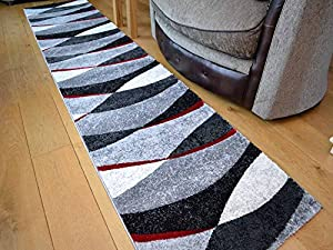 Tempo Black And Red Wave Thick Quality Modern Carved Rugs. Available in 7 Sizes (67cm x 240cm) from Rugs Supermarket