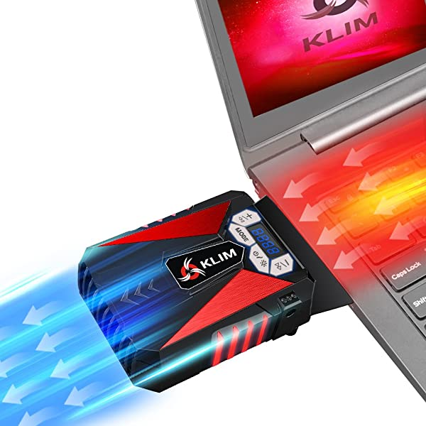 KLIM Cool Laptop Cooler Fan - Innovative Portable Cooling Design with Display - External Gaming Cooler - High Performance Ventilation - USB Cooling Pad - Quiet Air Vacuum - Reduce Heat - Red (Color: Red)