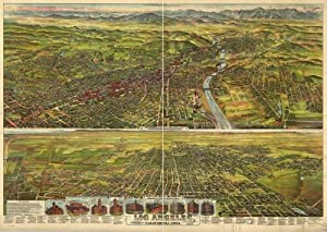 Historic Panoramic Map Reprint: Los Angeles, California, 1894. 36 x 24