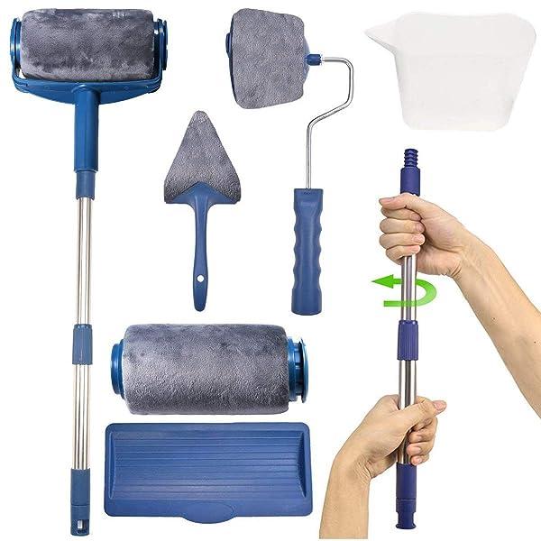 7 PC Paint Roller Brush Kit,GPSGO Paint Runner Pro Professional Roller, Smart Paint Roller Applicator / 2 Paint Pro Brush/Telescopic Poles/Flocked Edger and Corner Brush for Home Office Ceiling or