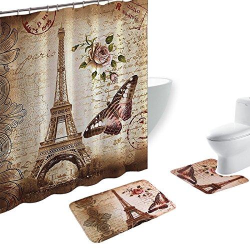 amgical 15 piece shower curtain set bath mat set contour mat with 12 hooks paris tower