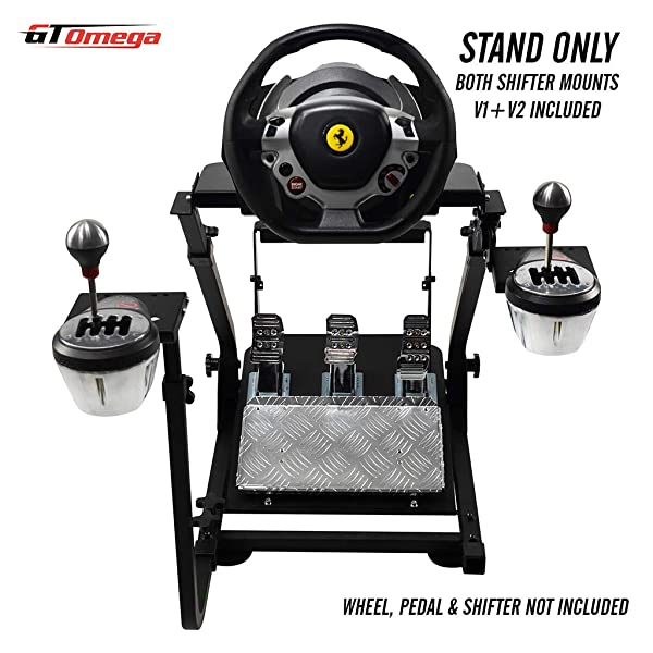 GT Omega Steering Wheel Stand for Thrustmaster TX Racing Wheel Ferrari 458 Italia & Pedals Set, Xbox One, PC - Compact, Foldable & Tilt-Adjustable to Ultimate Gaming Console Experience