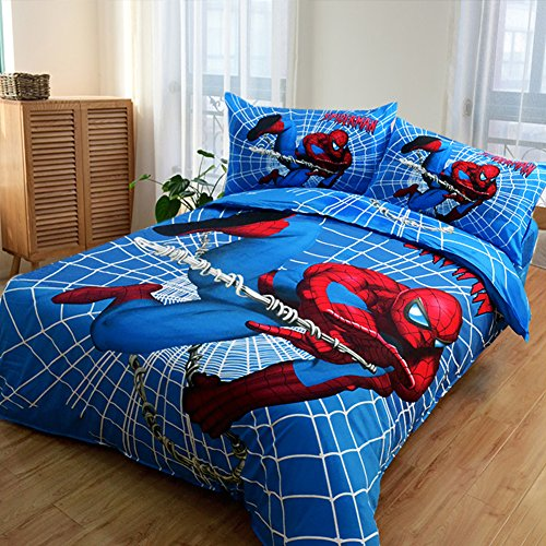 MeMoreCool 100% Cotton Marvel Amazing Spiderman Kids Bedding Set,Perfect Gifts for Boys,Fashion Chartoon Designs Print Duvet Cover,Flat Sheet,3 Pcs,Twin