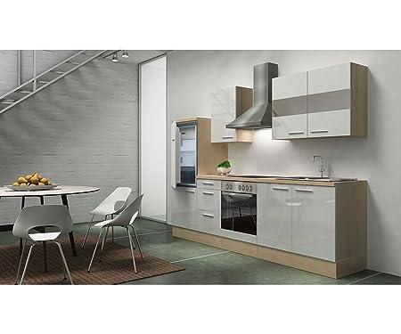 Bloque de cocina respekta 270 cm de madera de acacia color blanco brillante