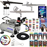 3 Airbrush Kit with 6 U.S. Art Supply Primary Airbrush Colors and Master Airbrush TC20 Pro Airbrush Compressor - Air Filter/Regulator- Airbrush Holder - 2 Gravity Feed Dual Action Master Airbrushes and 1 Suction Master Feed Airbrush and a How to Airbrush Instructional Guidebook and Airbrush Cleaning Brushes, also includes a Color Mixing Wheel
