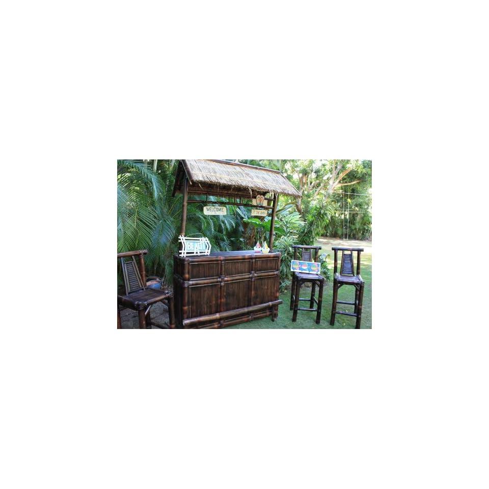 Outdoor Kitchen Tiki Bar: Life Is A Beach Tiki Bar W/ 3 Bar Stools Outdoor Bamboo