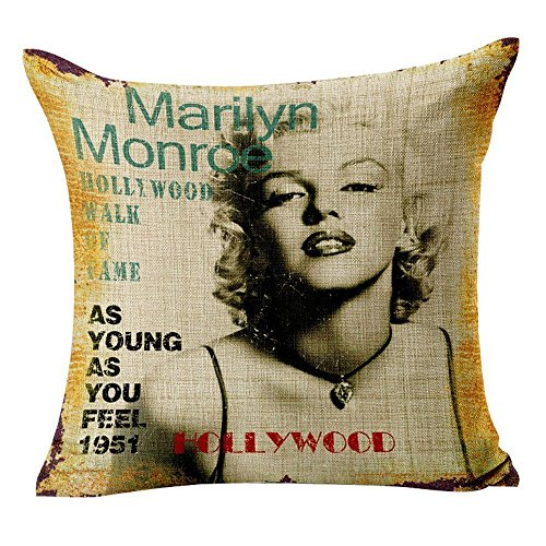 Yo-You Cotton Linen Decorative Throw Pillow Case Marilyn Monroe Printed (AA4) (Protect Yo Neck compare prices)