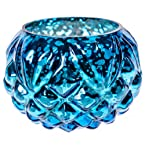 Blue Hammered Glass Votive Candle Holder