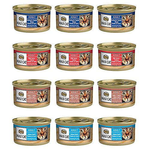 Nutro Max Cat Adult Canned Food 4 Flavor Variety Bundle: (3) Salmon, (3) Seafood & Tomato Bisque, (3) Venison, and (3) Lamb & Turkey Cutlets, 3 Oz. Each (12 Cans Total) (Nutro Max Canned Cat Food compare prices)
