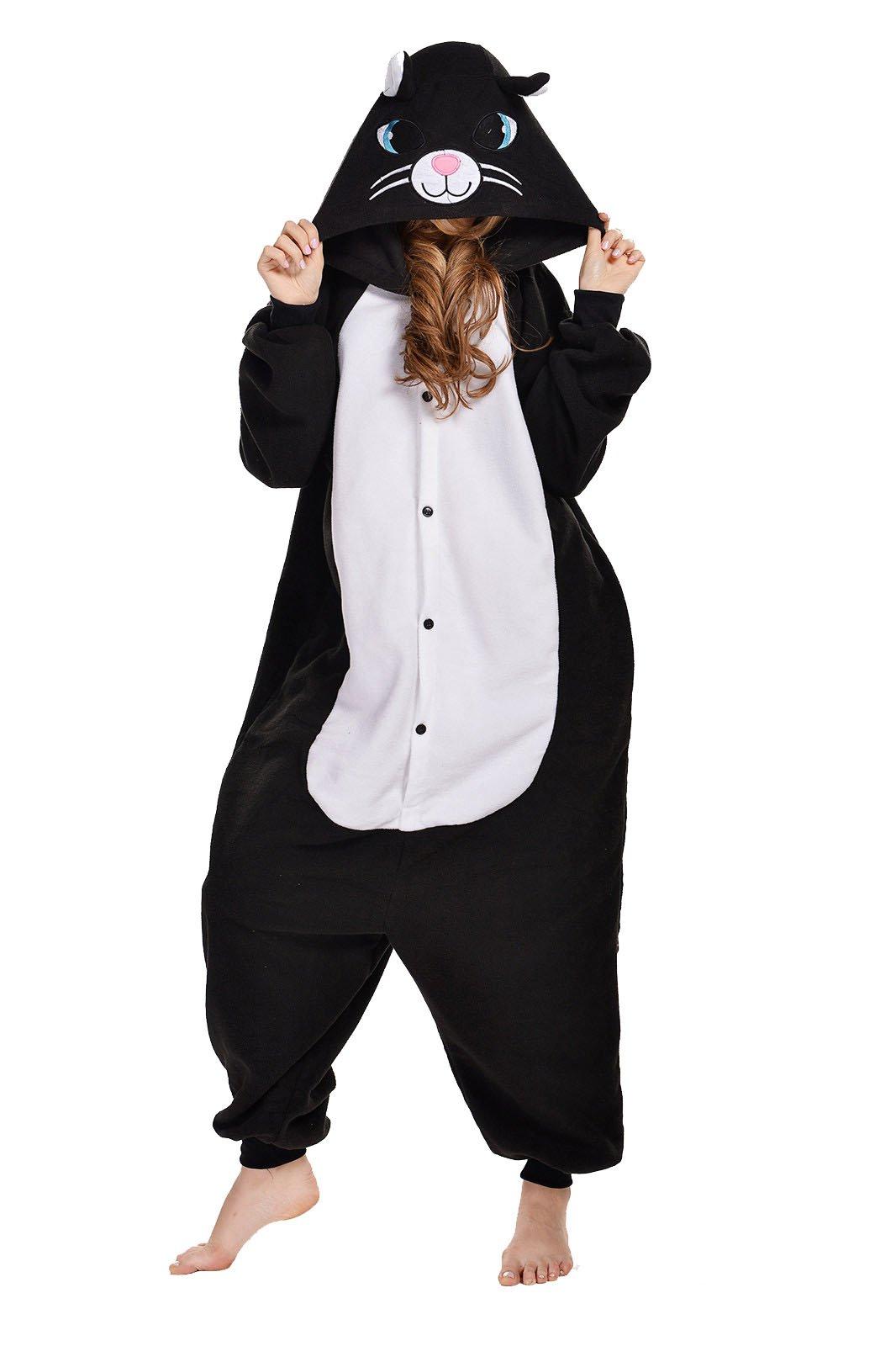 Black Cat Kigurumi Pajamas Adult Anime Cosplay Halloween Costume (x-large)
