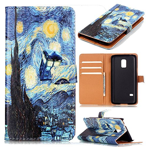 Galaxy S5 Mini Case - Tardis Blue Police Call Box Vincent Van Gogh Starry Night Pattern PU Leather Wallet Case Stand Cover with Cash Card Slots for Samsung Galaxy S5 MINI (SM-G800) (Doctor Who Samsung S5 Mini Case compare prices)