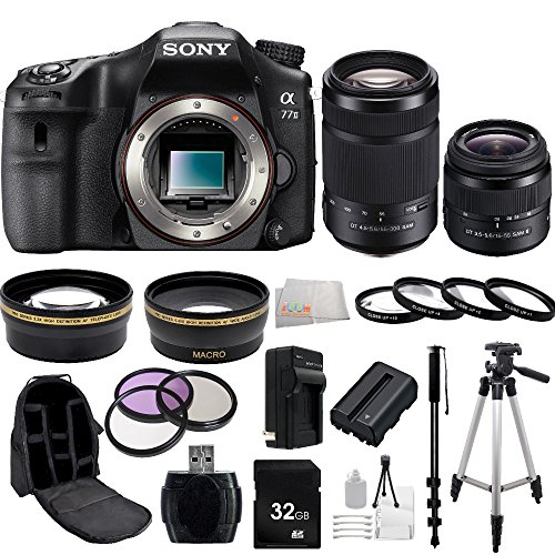 Sony A77Ii Ilc-A77M2 A77M2 A77 Ii Digital Slr Camera - Body Only + Sony Dt 18-55Mm F/3.5-5.6 Sam Ii Lens + Sony 55-200Mm F/4.0-5.6 Dt Alpha A-Mount Telephoto Zoom Lens + 32Gb Bundle 20 Pc Accessory Kit. Includes Wide Angle & Telephoto Lenses + 3 Piece Fil