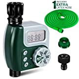 Water Faucet Timer with 50 ft Hose, Electronic Garden Sprinkler Timer Outdoor Single Outlet Digital Programmable Auto and Manual Control for Garden, Greenhouse, Flower Bed, Patio, Lawn